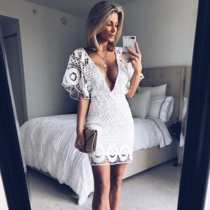 Dresses & Skirts - White Crotchet Mini Dress